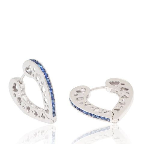 White Gold Earrings, Heart Hoops, Blue Sapphires, Unique, for women, Gemstones