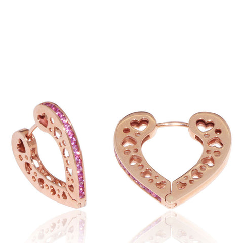 Rose Gold Earrings, Heart Hoops, Pink Sapphires, Gemstones, Unique, for women
