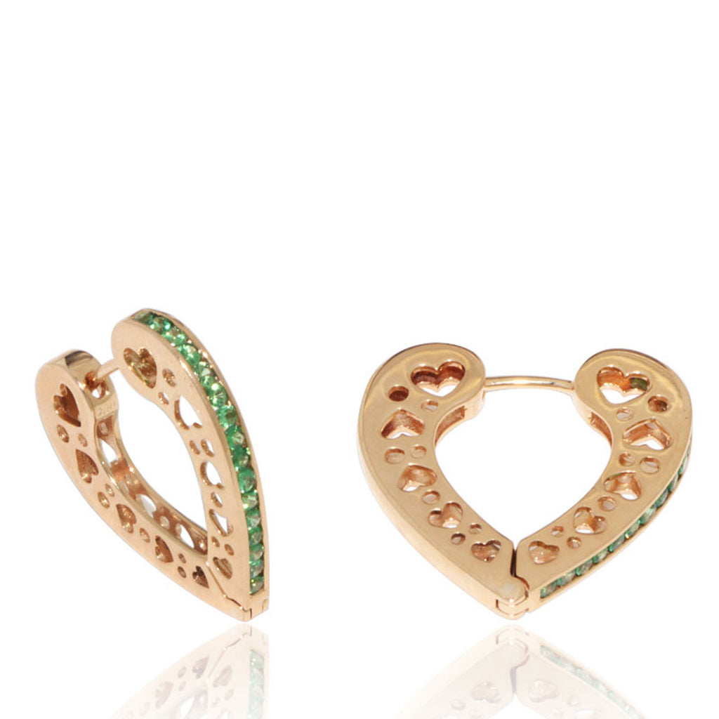 Yellow Gold Earrings, Tzavorites, Heart Hoop Earrings, Unique, for women, Gemstones