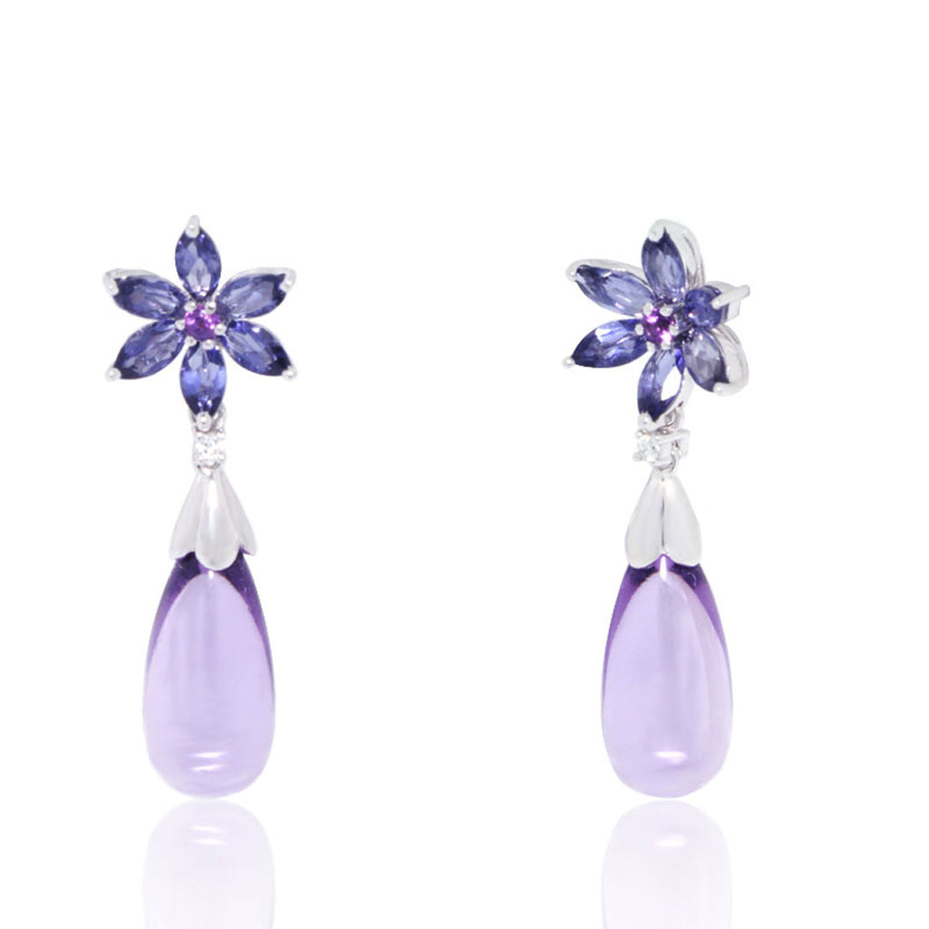 White Gold Earrings, Dangling Drops, Amethyst, Iolite, Flower, Gemstones, Unique, for women