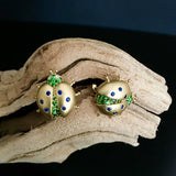 Yellow Gold Earrings, Lady Bug, Diamonds, Tzavorites, Blue Sapphires, Gemstones, for women, Unique
