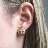 Yellow Gold Earrings, Lady Bugs, Diamonds, Yellow Orange Sapphires, Gemstones, Unique, for women