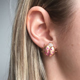 Rose Gold Earrings, Lady Bugs, Diamonds, Yellow Pink Sapphires, Gemstones, Unique, for women