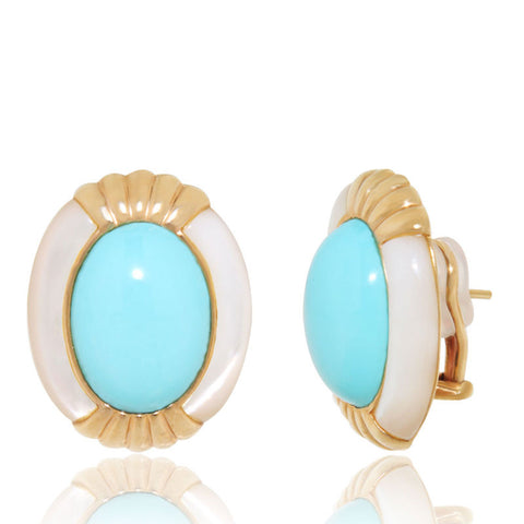 Yellow Gold Earrings, Mother of Pearl, Arizona Turquoise, Unique, for women