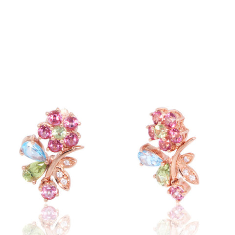Rose Gold Earrings, Flower, Blue Topaz, Peridot, Garnet, Gemstones, Diamonds, Unique, for women, Flower