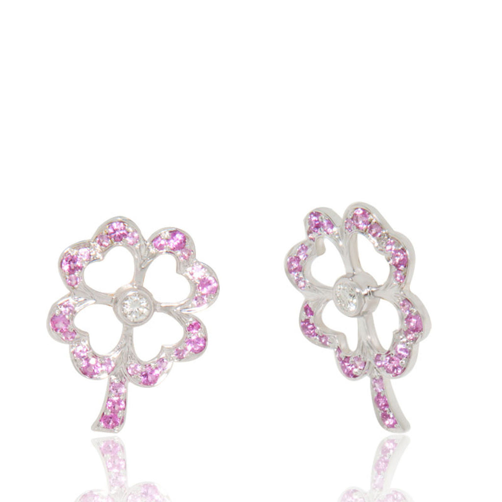 White Gold Earrings, Pink Sapphires, Diamonds, Gemstones, Flower Earrings, for women, Unique