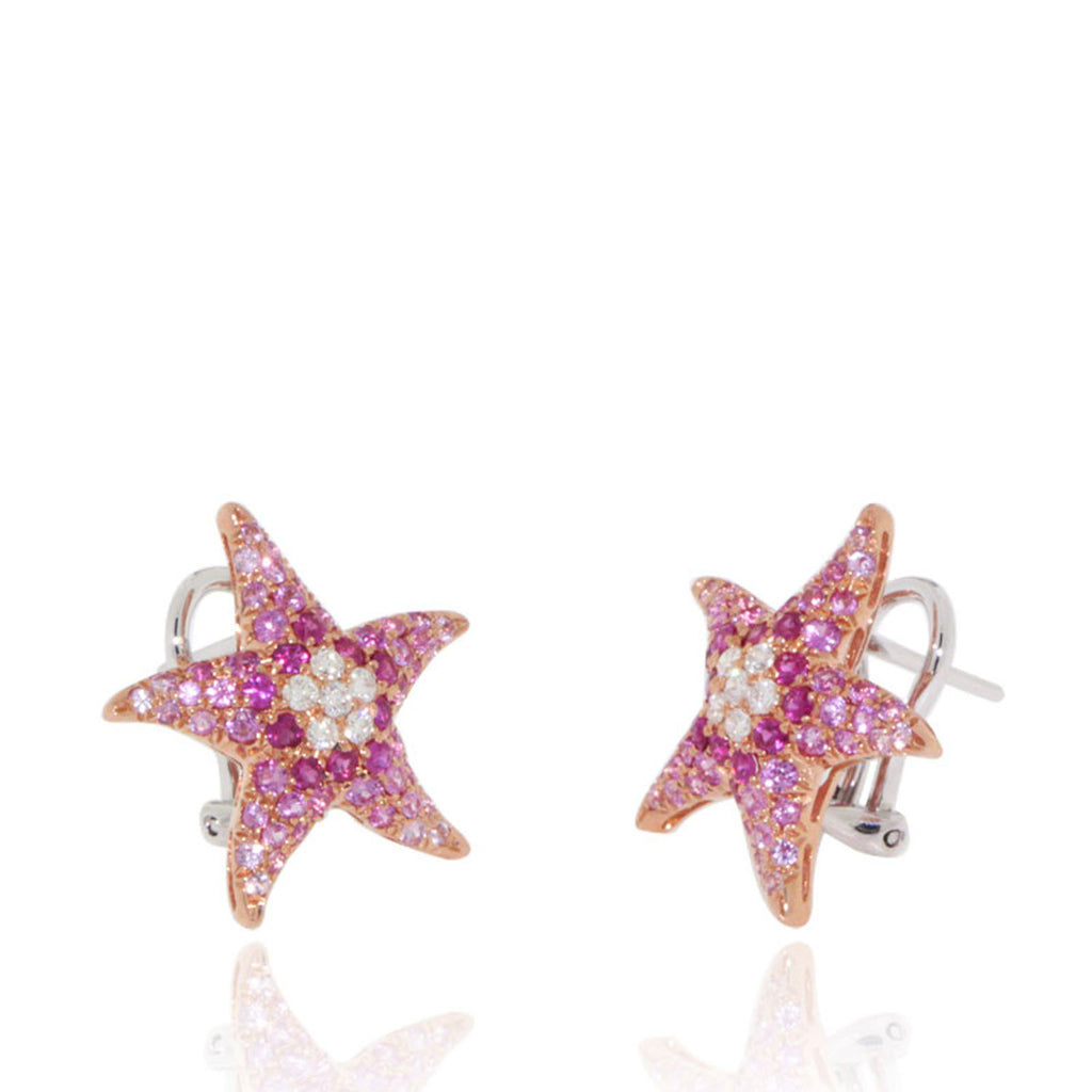Marine Life, Starfish, Ruby and Pink Sapphire Earrings
