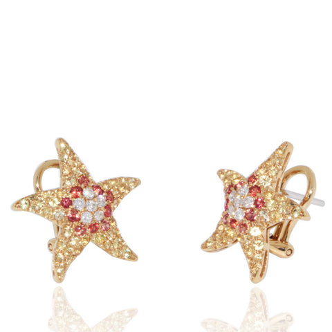 Yellow Gold Earrings, Starfish, White Diamonds, Gemstones, Unique, for women