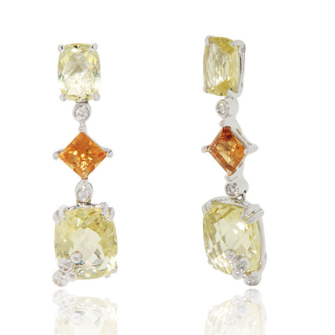 18k White Gold Earrings, Unique, Gemstone Earrings, Lemon Quartz, Diamond, Citrine, for women, sale