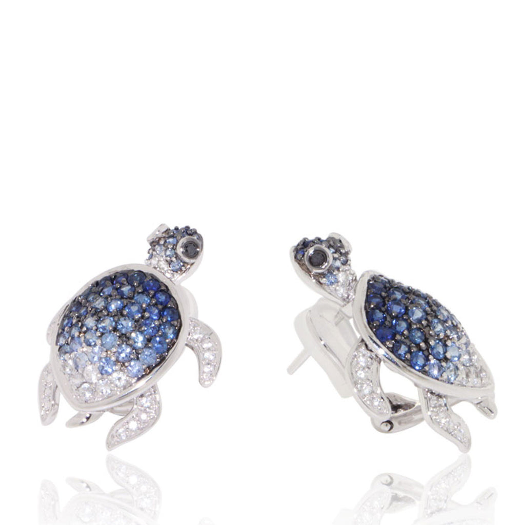 White Gold Earrings, Blue Sapphires, Black Diamonds, Gemstone, Unique, for women, Turtle Earrings