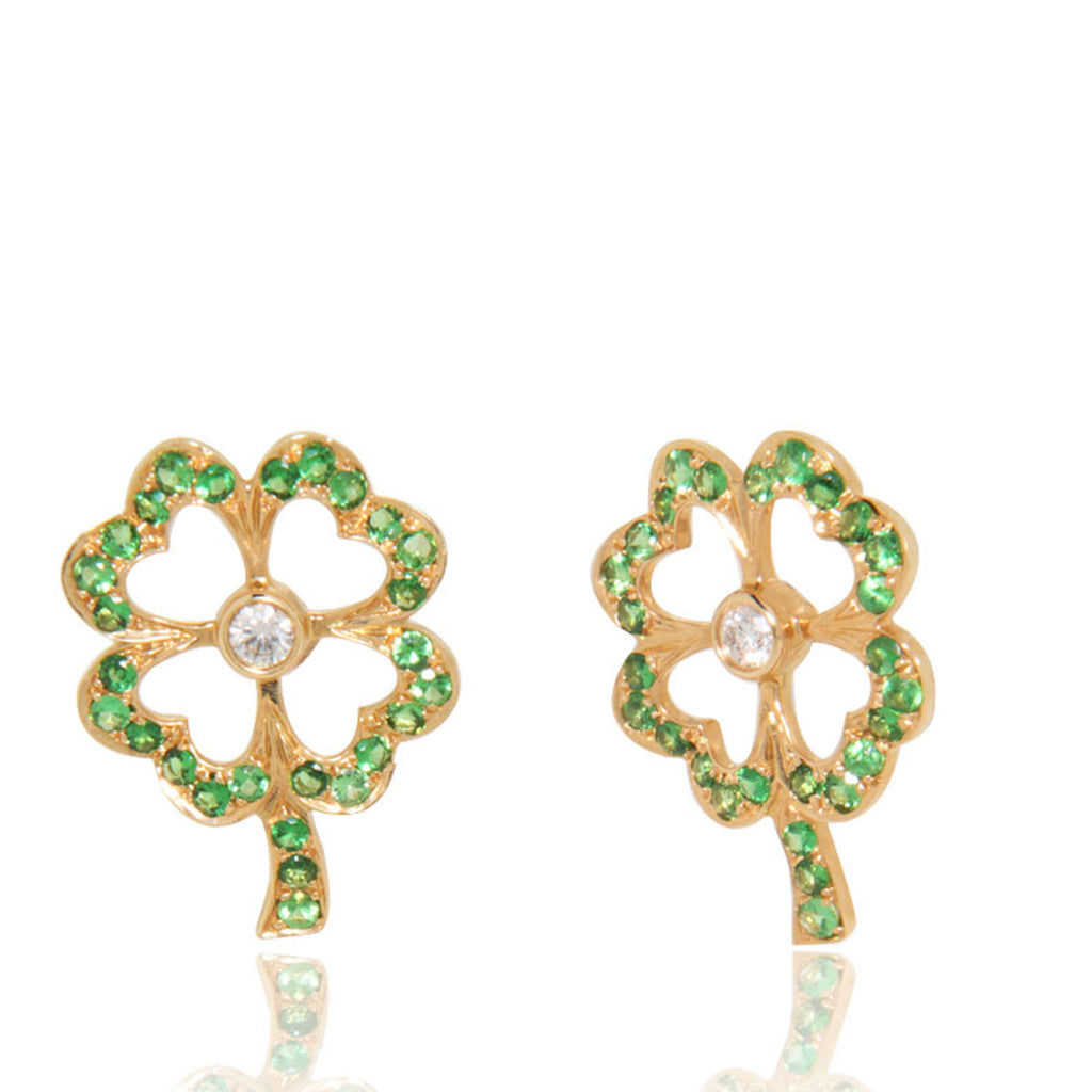 Yellow Gold Earrings, Gemstones, Diamonds, Tzavorites, Flower Earrings, Unoque, for women