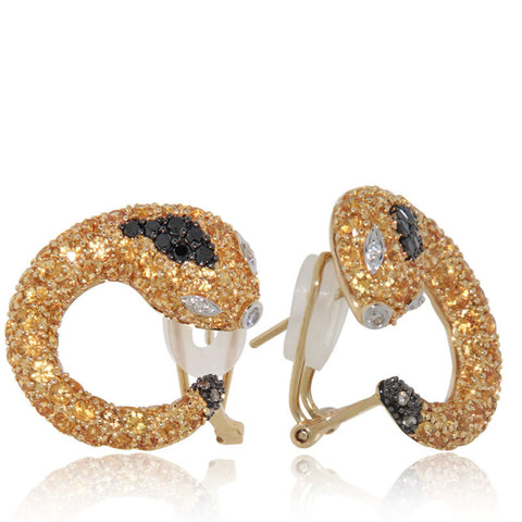 Unique, Yellow Gold, Snake Earrings, Black Diamonds, sale