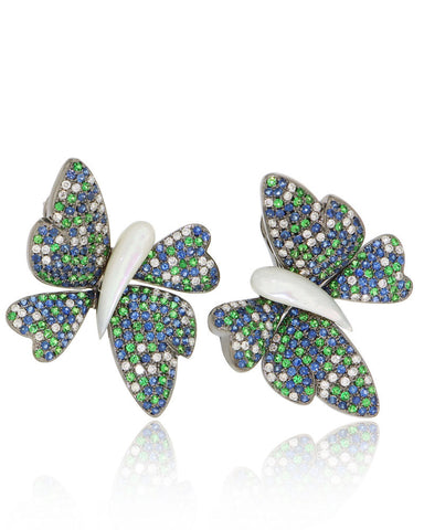 Unique, Multi-Color, Butterfly, Gemstone Earrings, Diamonds, Sapphires, Mother of Pearl