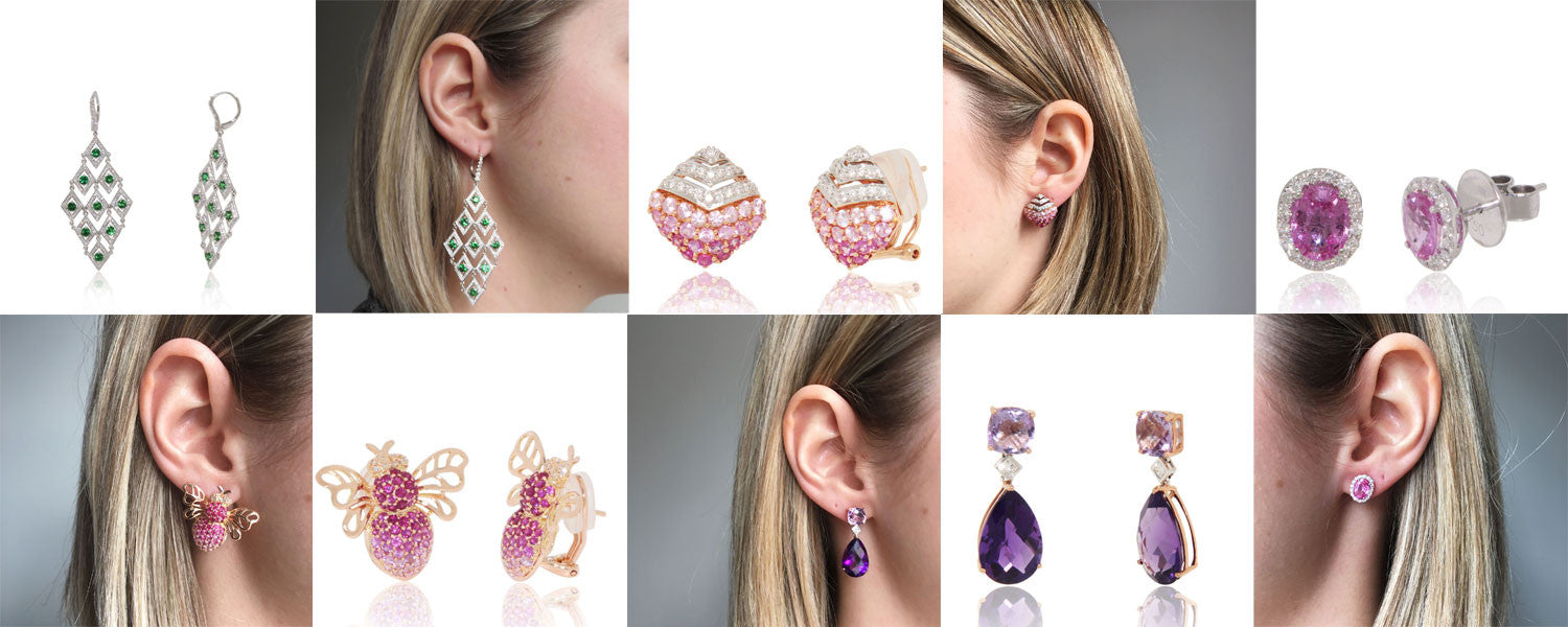 Gemstone Earrings, Sapphires, Diamonds, 18K Gold, Aquamarine, Amethyst, Pink, Blue