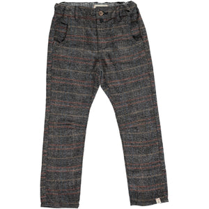 Grey plaid woven pants with suspenders