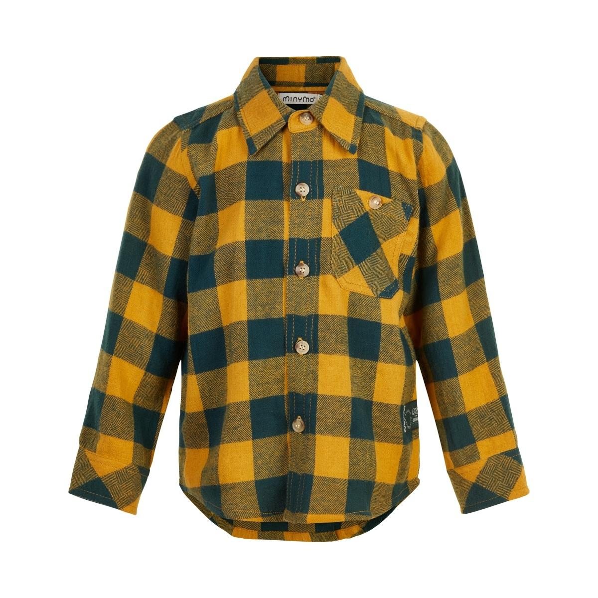 Plaid Flannel Shirt-Amber Gold