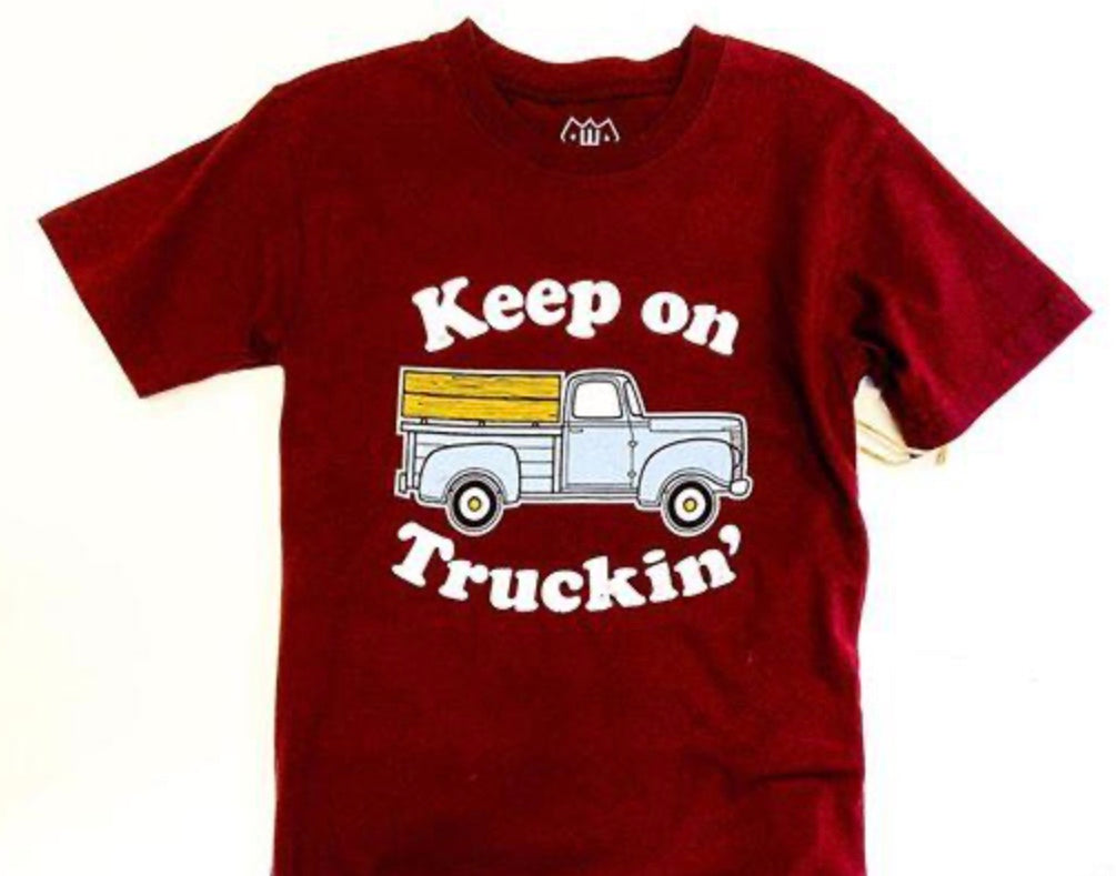 KEEP ON TRUCKING S/S TEE/MAROON