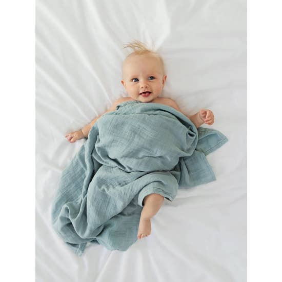 Dusty Blue Swaddling Blanket
