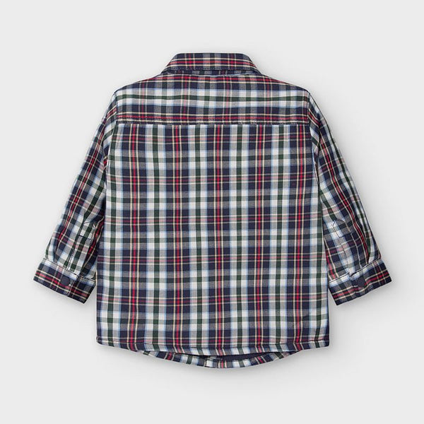 Lined Long Sleeve Shirt-Navy Plaid