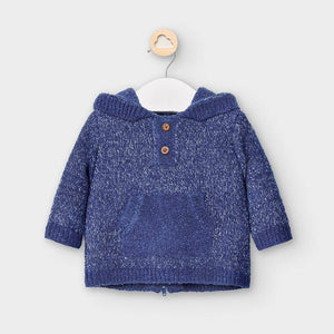 Knit Hoodie Pullover Sweater-Blue