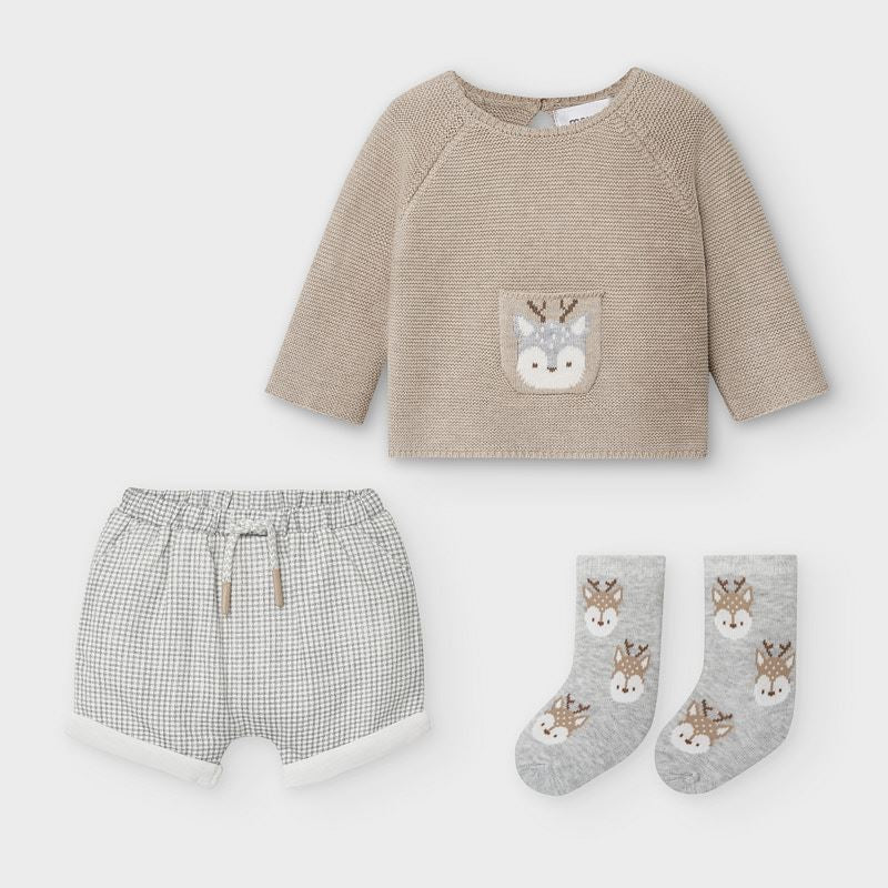Short and Sweater Set With Socks-Deer