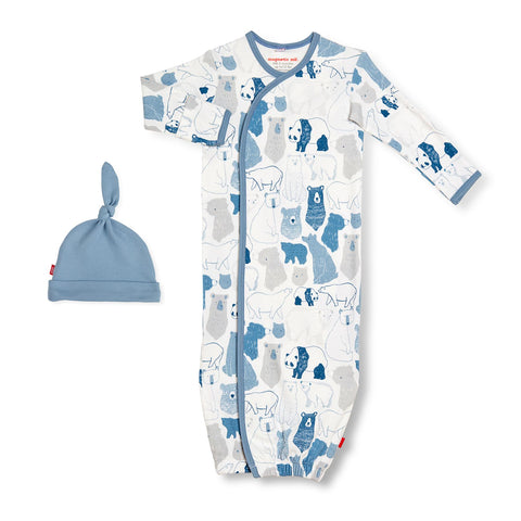 unbearably cute organic cotton magnetic gown + hat