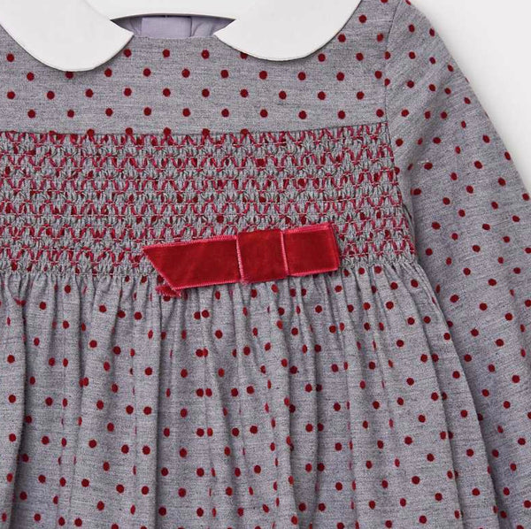 Polka Dot Dress-Red Grey