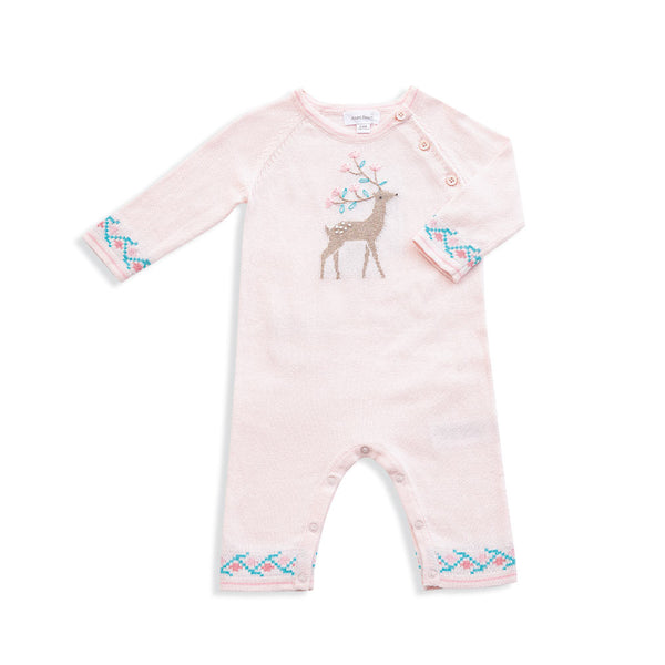 Western Wilderness Knits Deer Coverall Pink