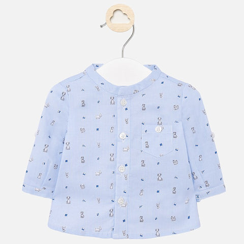 L/s Mao collar shirt/sky