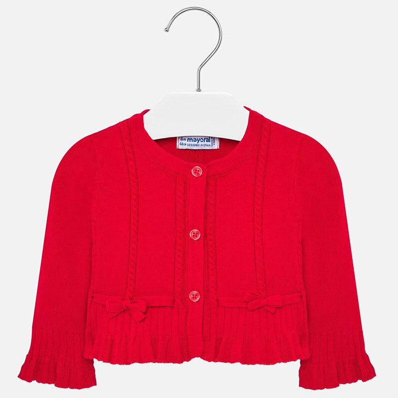 KNIT FLOUNCE CARDIGAN/RED
