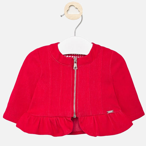 DENIM FLOUNCE JACKET/RED