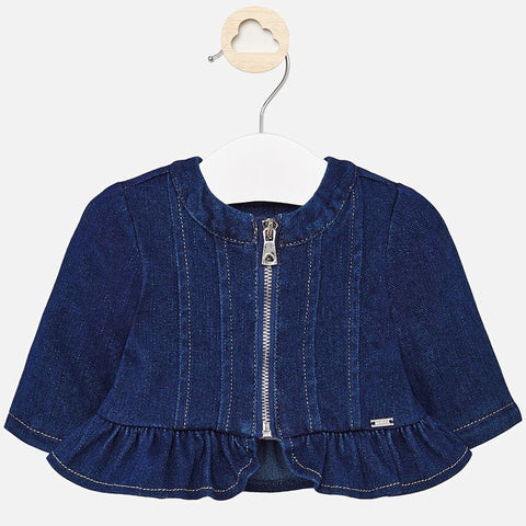 DENIM FLOUNCE ZIP JACKET