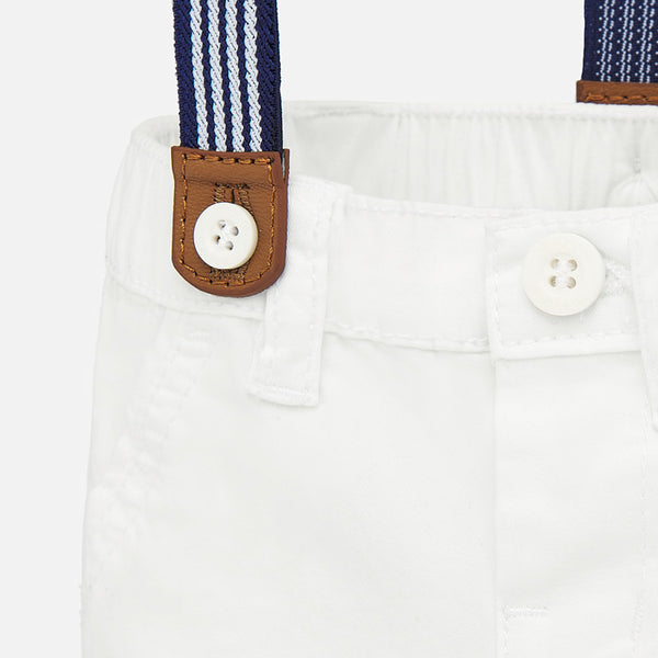 Trouser with suspenders/white