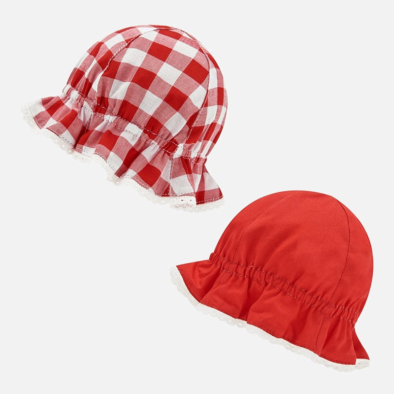 Reversible Gingham Red Hat