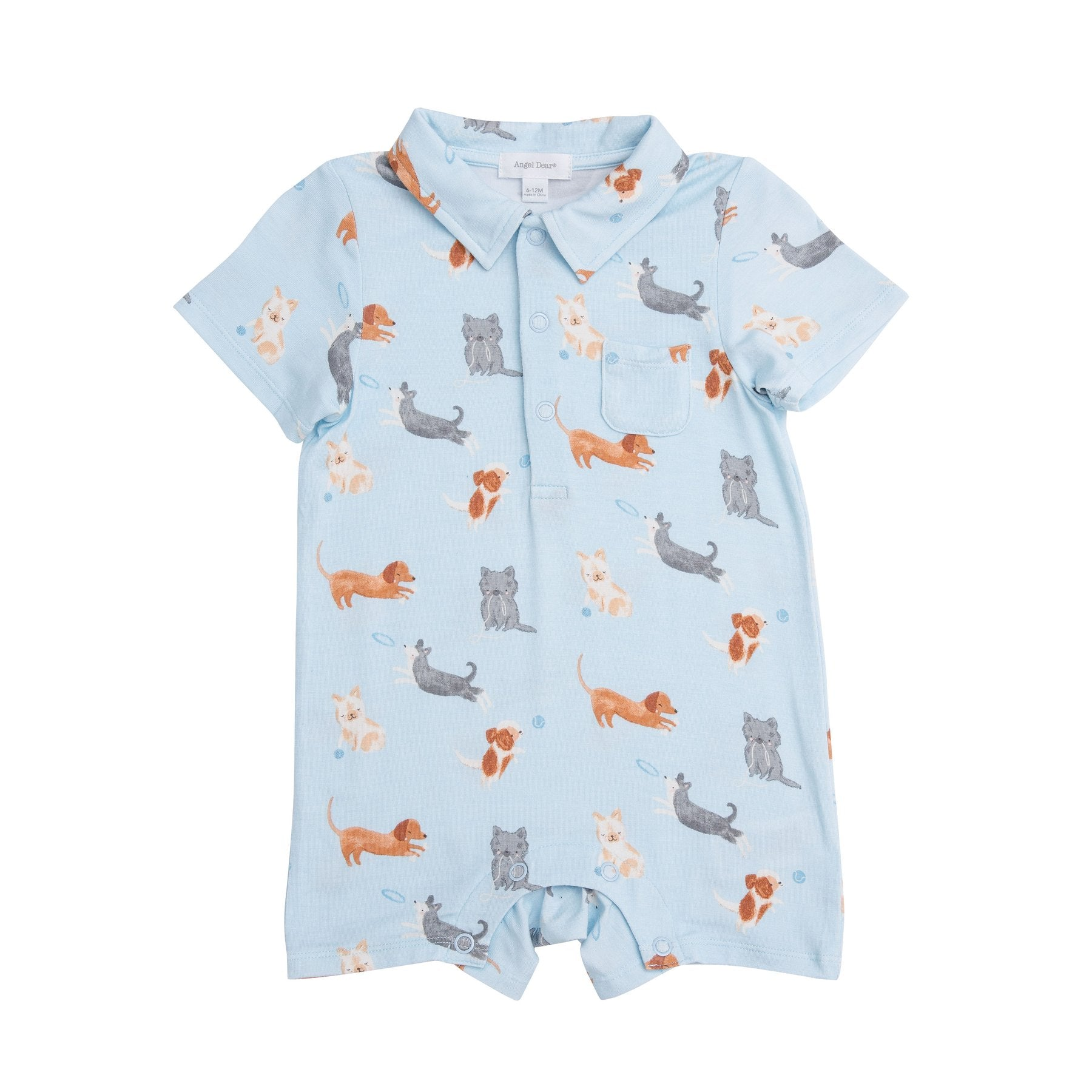Puppy Play Polo Romper Blue