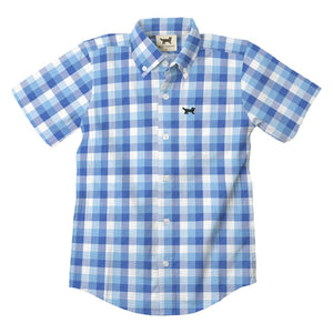 Short Sleeve Seersucker Blue Plaid Shirt