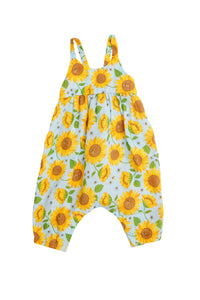 Sunflowers Tie Back Romper Whispering Blue