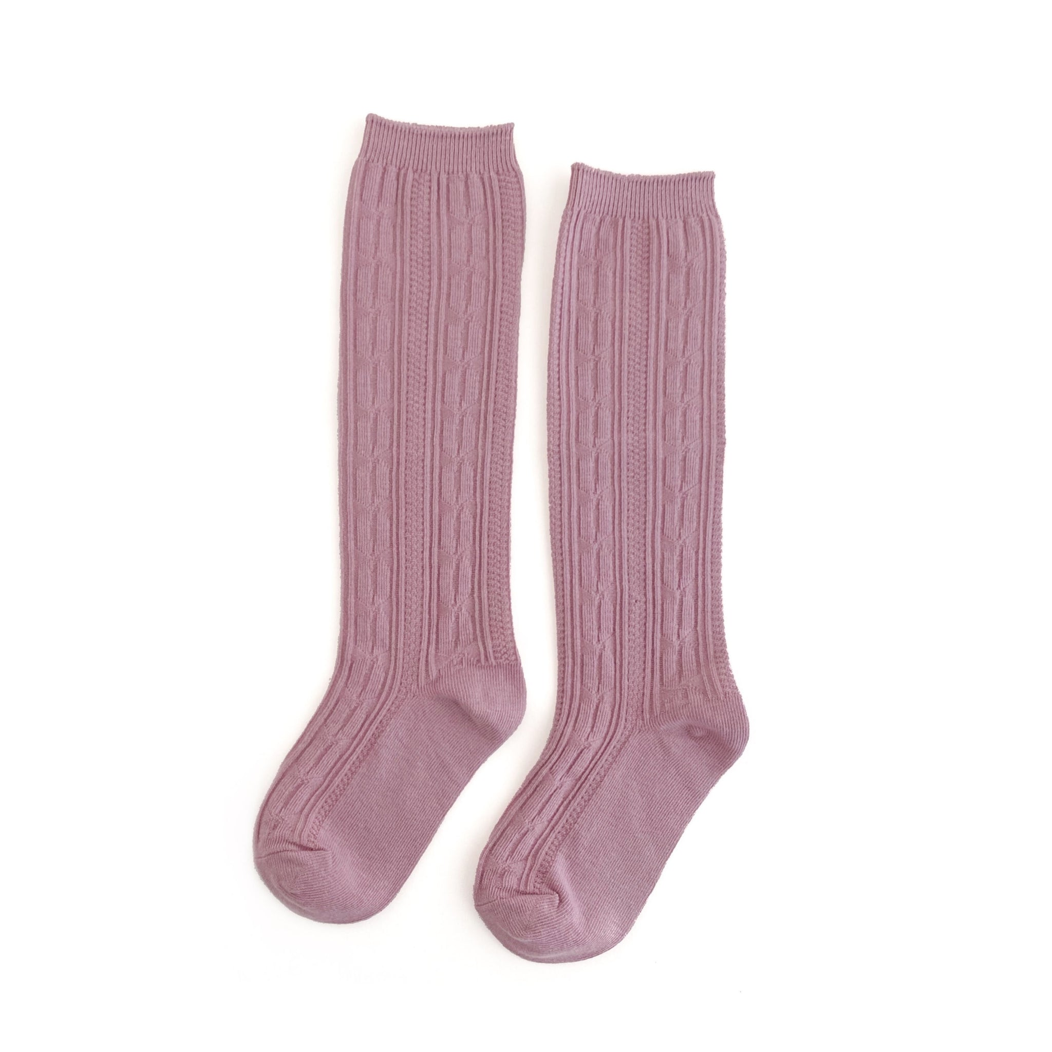 Dusty Rose Cable Knit Knee Highs
