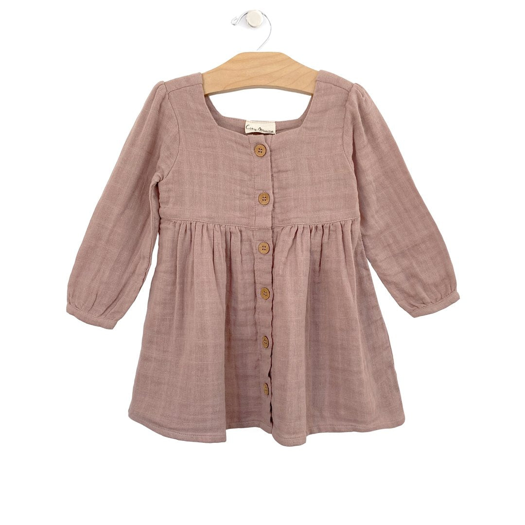 Muslin Button Dress-Dusty Rose