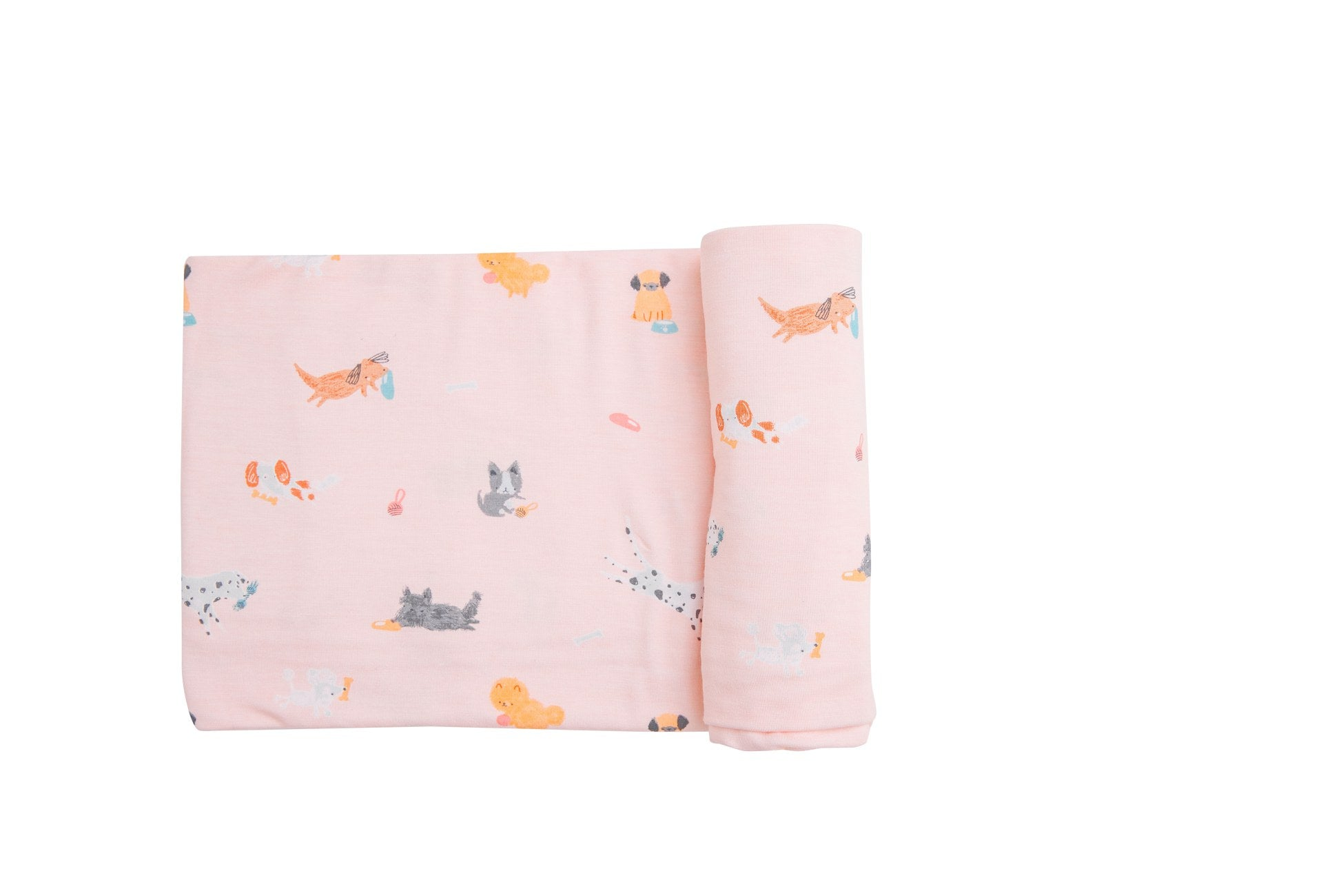 Puppy Play Swaddle Blanket Pink