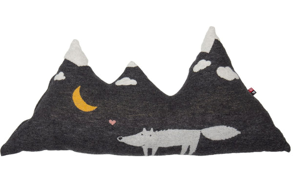 Mountain/Wolf Pillow-Charcoal
