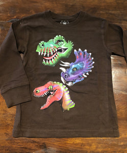 Triple Dino L/S Tee-Chocolate