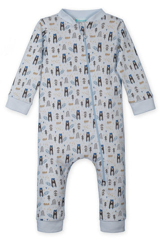 Zip Romper/Beaver on Blue
