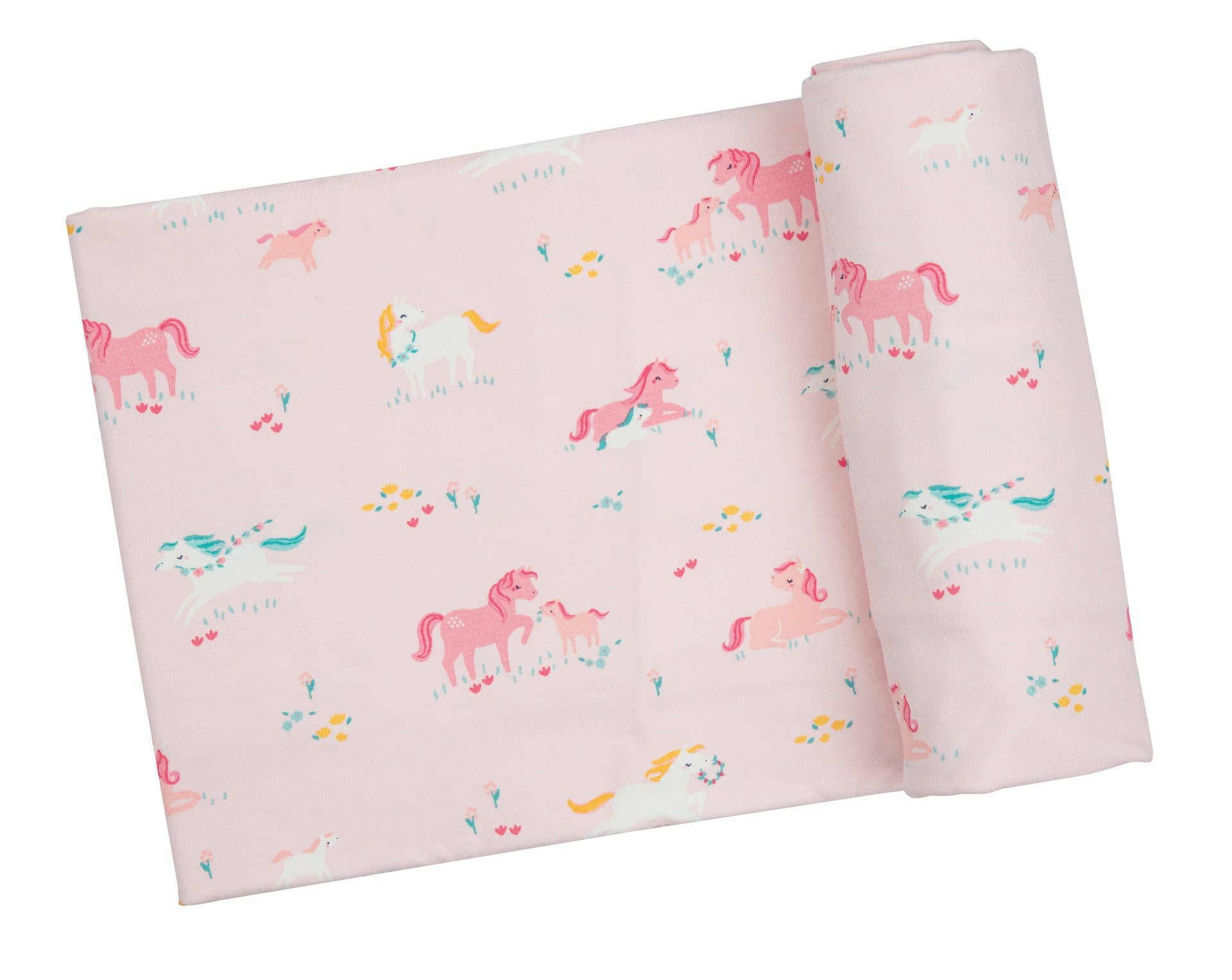 Girl Ponies Bamboo Swaddle