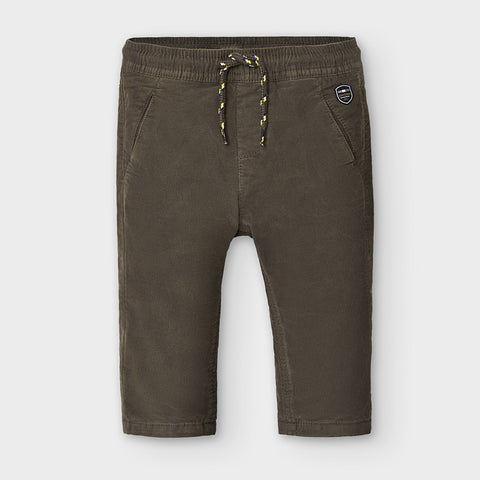 Micro Cord Lined Pant-Chocolate