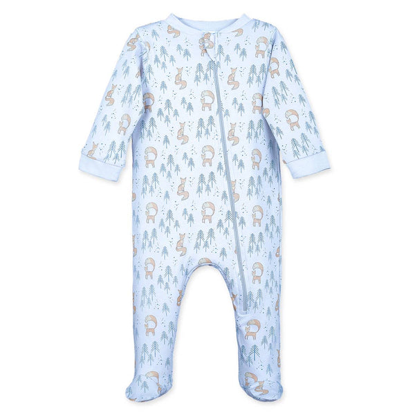 Zipper Footie - Foxy on Baby Blue