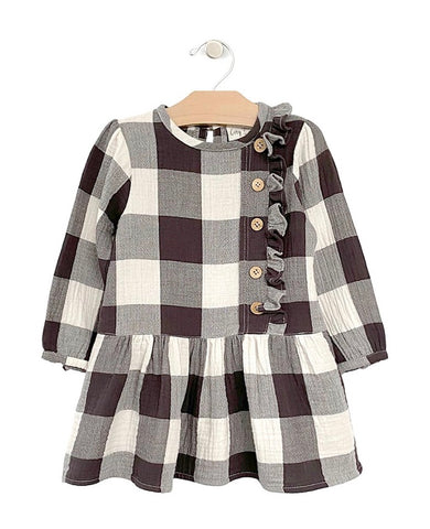 Drop Waist Button Dress- Buffalo Check
