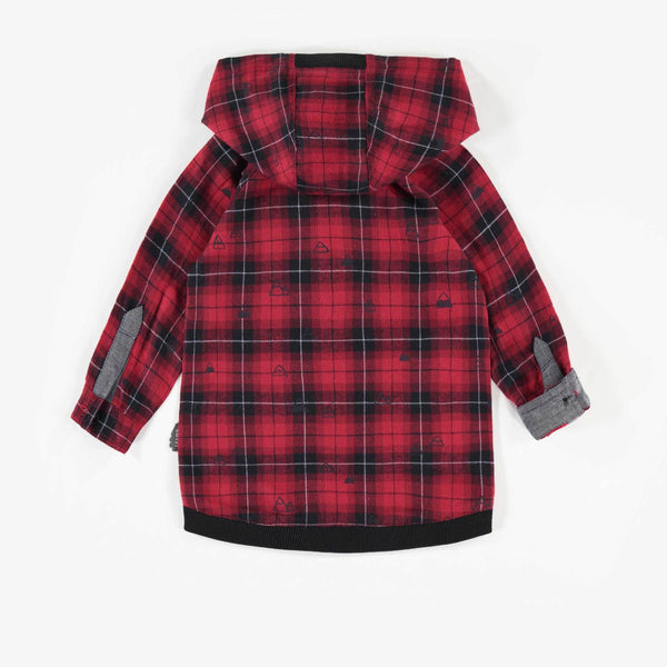 Flannel Hooded Long-sleeve Shirt
