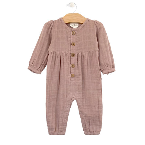 Muslin Button Romper-Dusty Rose