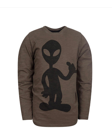 Graphic Long Sleeve Tee-Rock On Alien